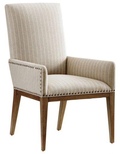 Antonito szék egyedi tervezés gyártás hagyományos art deco elegáns kényelmes karfás szövet bézs csíkos faláb