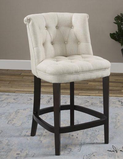 Hannaford bárszék egyedi tervezés gyártás hagyományos elegáns kényelmes támlás karfa nélküli szövet fehér faláb