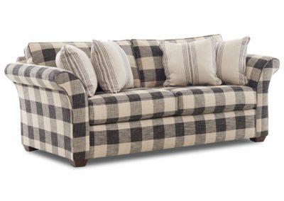 Tradicionális Jaffrey kanapé egyedi tervezés gyártás hagyományos elegáns kényelmes puha szövet szürke kockás faláb