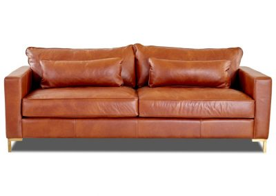 Trend Kelso kanapé egyedi tervezés gyártás hagyományos elegáns kényelmes bőr csau rozsdabarna fémláb