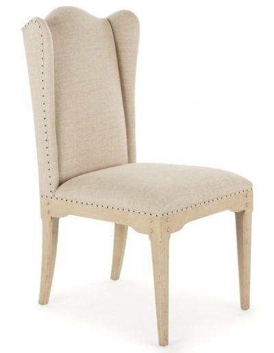 La Jara szék egyedi tervezés gyártás hagyományos elegáns kényelmes füles karfa nélküli szövet törtfehér faláb