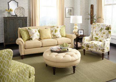 McLean garnitúra egyedi tervezés gyártás hagyományos elegáns kényelmes szövet bézs zöld virágmintás faláb