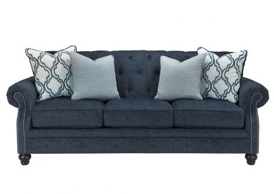 Chesterfield Norwich kanapé egyedi tervezés gyártás klasszikus elegáns angol kényelmes mélytűzött törtbársony kék faláb