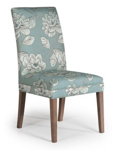 Penrose szék egyedi tervezés gyártás hagyományos elegáns kényelmes karfa nélküli szövet türkiz virágos faláb