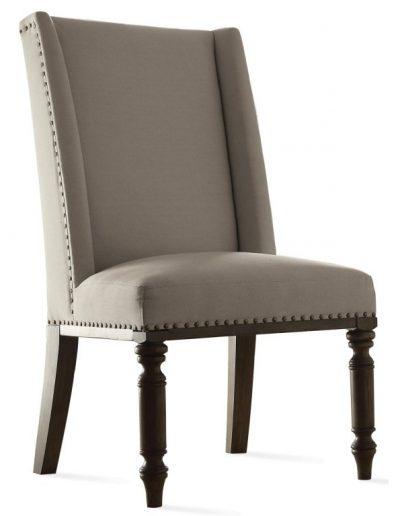 Rockvale szék egyedi tervezés gyártás hagyományos elegáns kényelmes füles karfa nélküli szövet drapp faláb