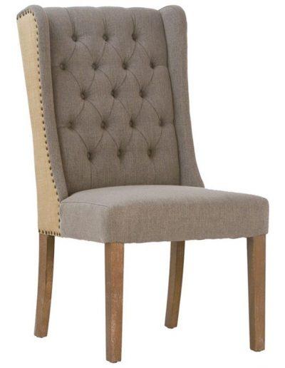 Valmora szék egyedi tervezés gyártás hagyományos elegáns kényelmes karfa nélküli füles mélytűzött szövet drapp faláb
